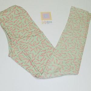 Lularoe Green Pink feather Leggings